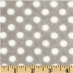 Plush Coral Fleece Polka Dot Stone/White