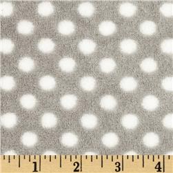 Plush Coral Fleece Polka Dot Stone/White Fabric