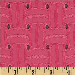 Basket Weave Cotton Eyelet Coral