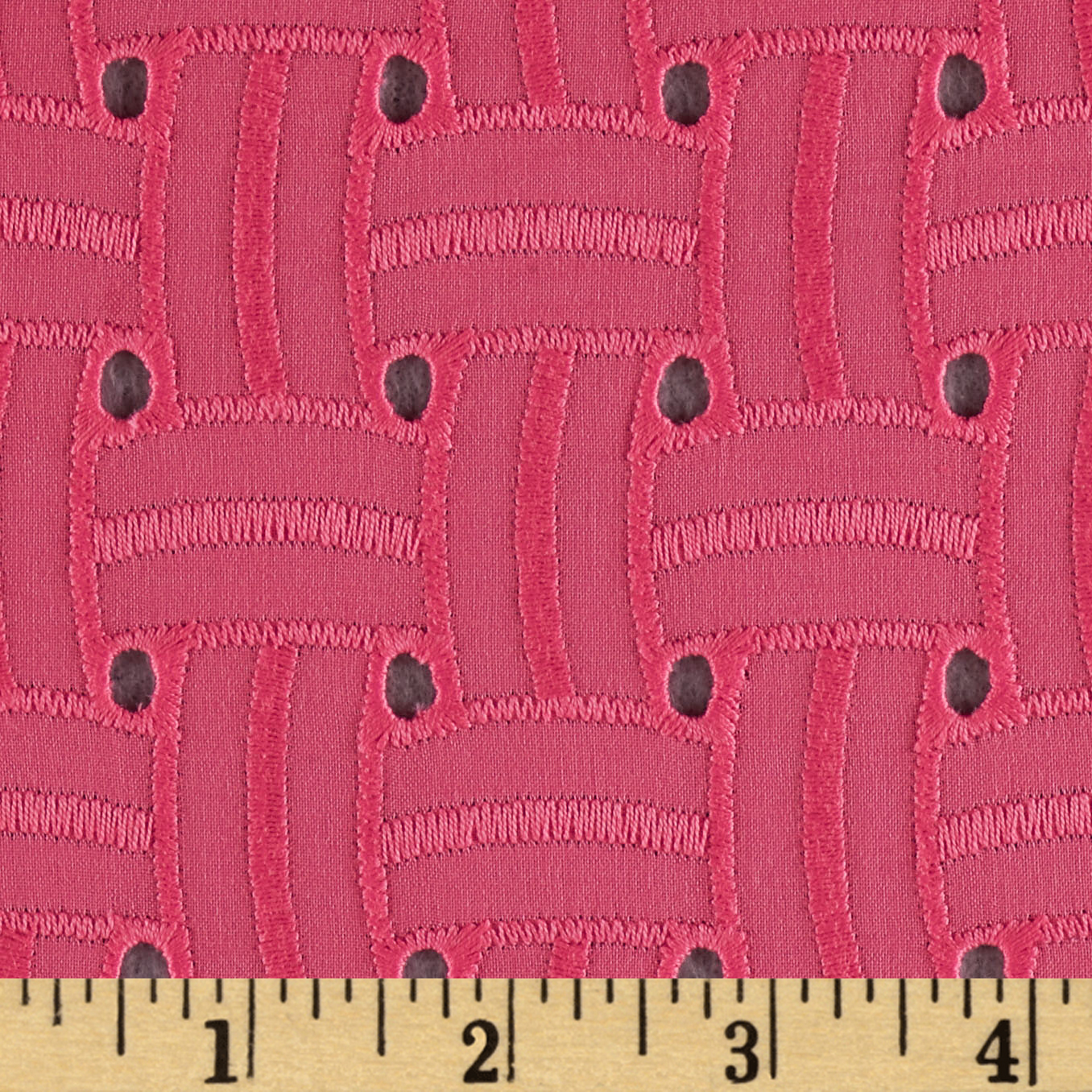 Basket Weave Cotton Eyelet Coral Fabric