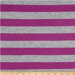 Jersey Knit Stripe Violet / Gray