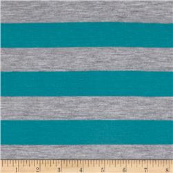 Jersey Knit Stripes Teal/Light Gray