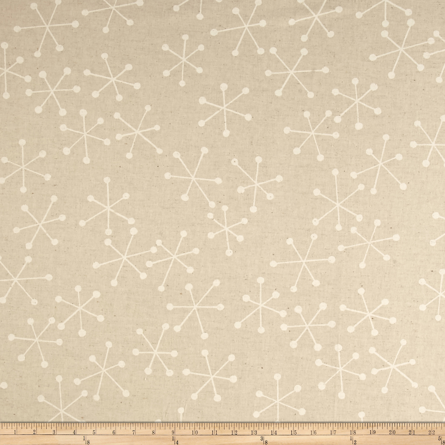 Kaufman Sevenberry Canvas Cotton Flax Prints Geo White Fabric by Kaufman in USA