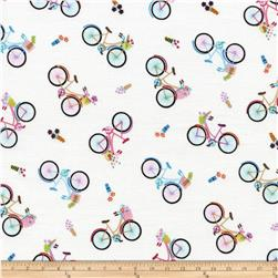 Timeless Treasures Bicycle Toss White Fabric