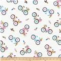 Timeless Treasures You, Me, Out Bicycle Toss White