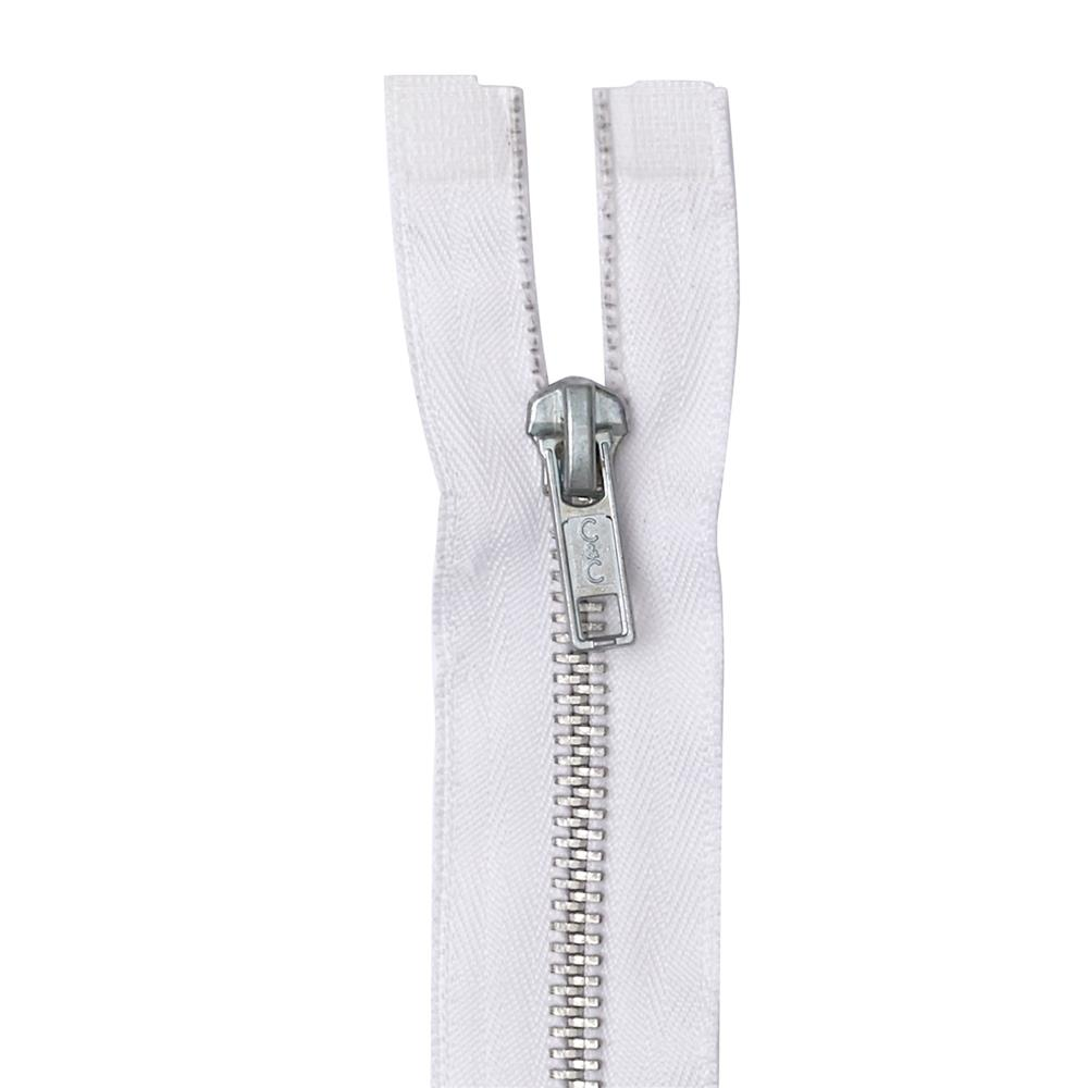 "Coats & Clark Heavy Weight Aluminum Separating Zipper 18"" White"