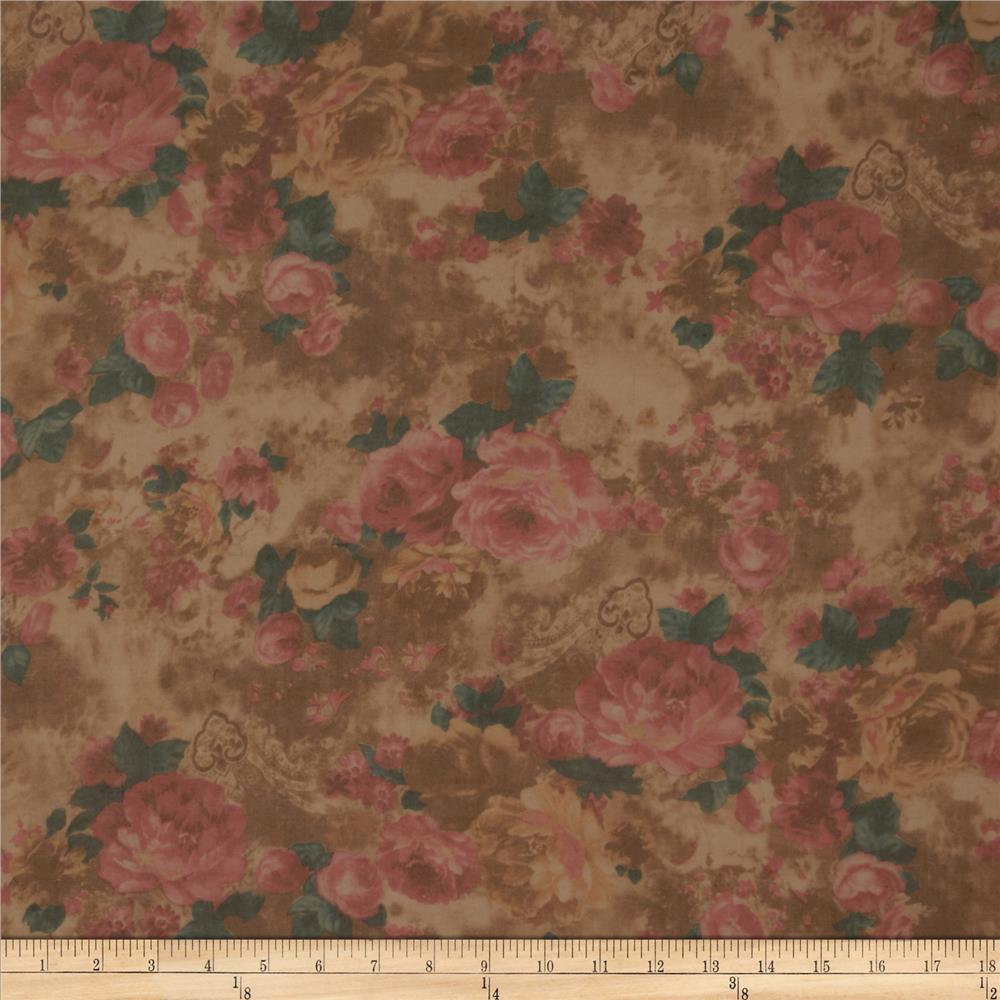 Cotton Lawn Garden Rose/Brown