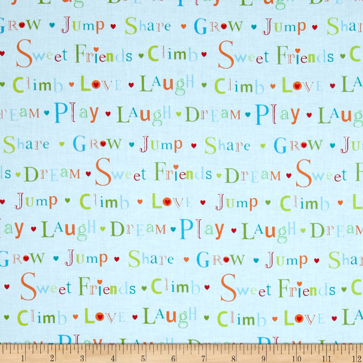 Sweet Friends Words Blue Fabric