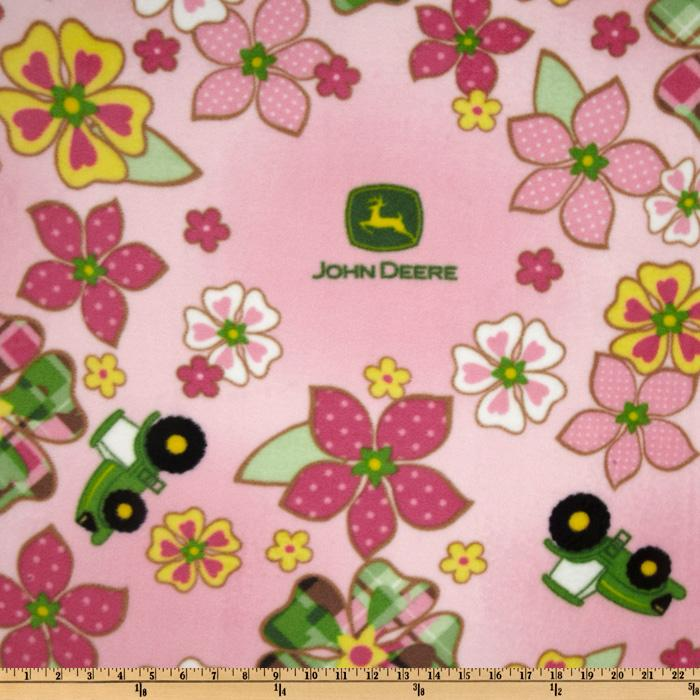 Fleece John Deere Flower & Tractor Toss Pink