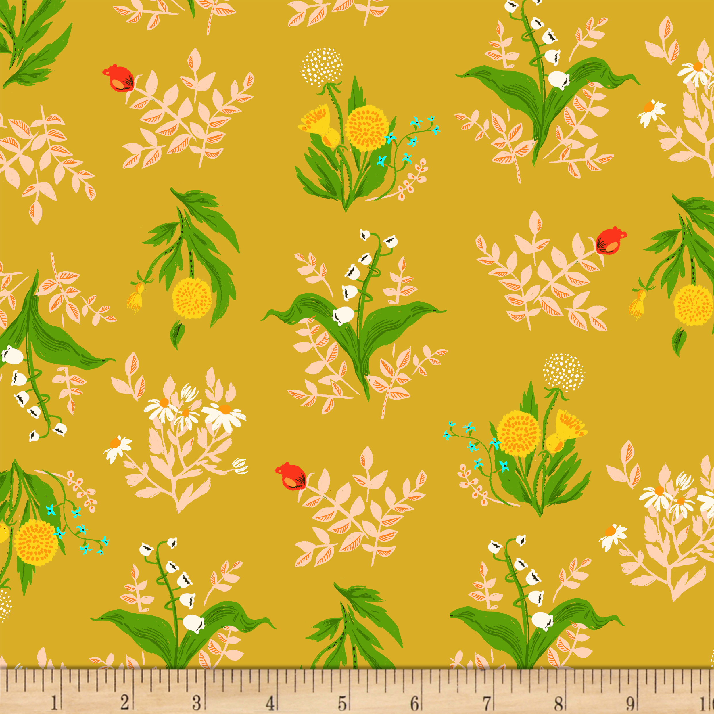 Heather Ross Sleeping Porch Lawn Bouquet Gold Fabric by Windham in USA