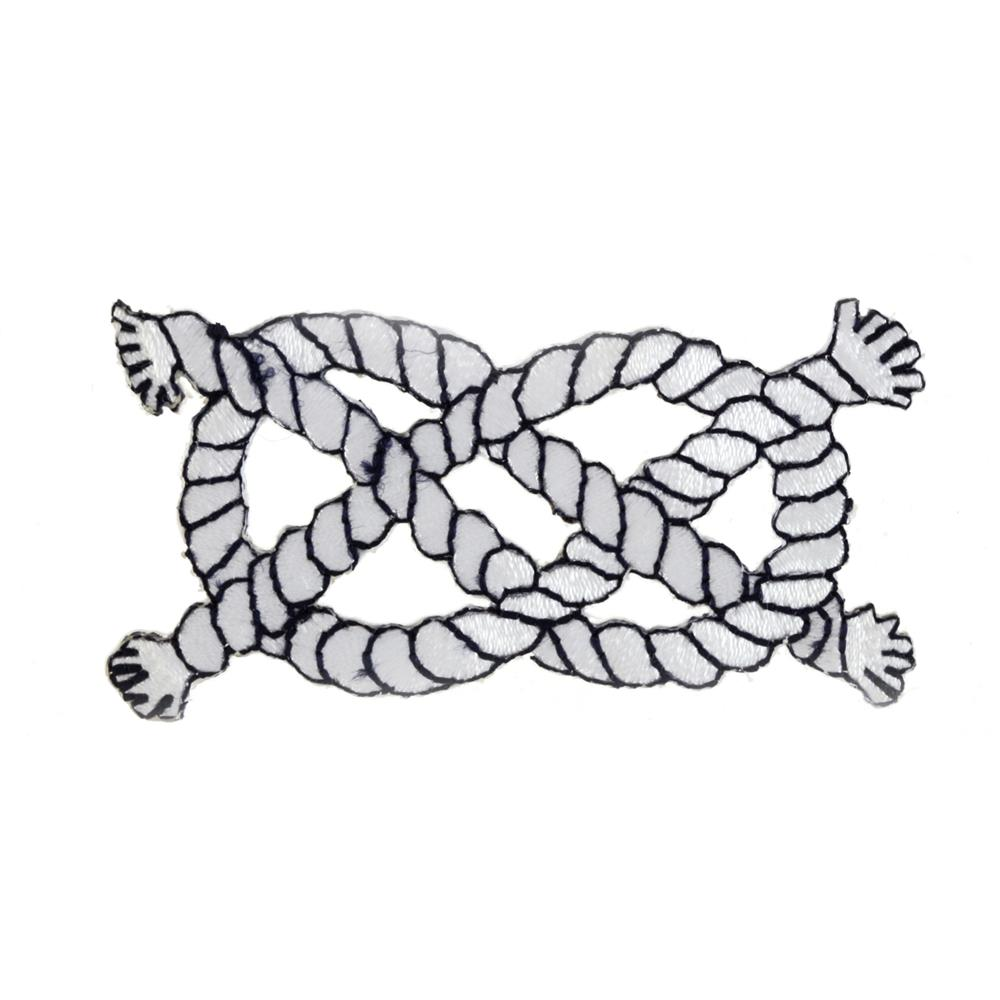 Nautical Knot Applique White/Navy