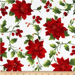 Christmas Flannel Poinsettia White Fabric