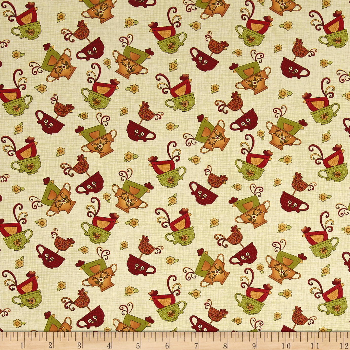 Chicks On The Run Chicks and Cups Cream Fabric 0554948