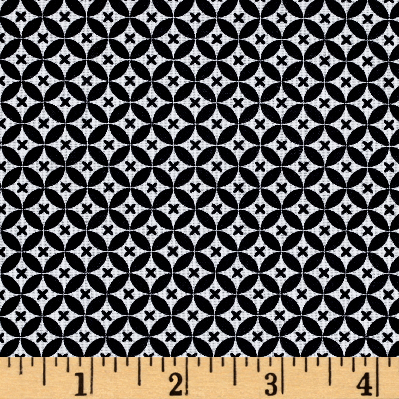 Odds And Ends XO Black On White Fabric by RJR in USA