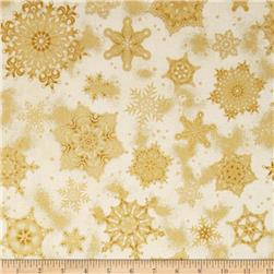 Robert Kaufman Holiday Flourish Metallic Snowflakes Ivory