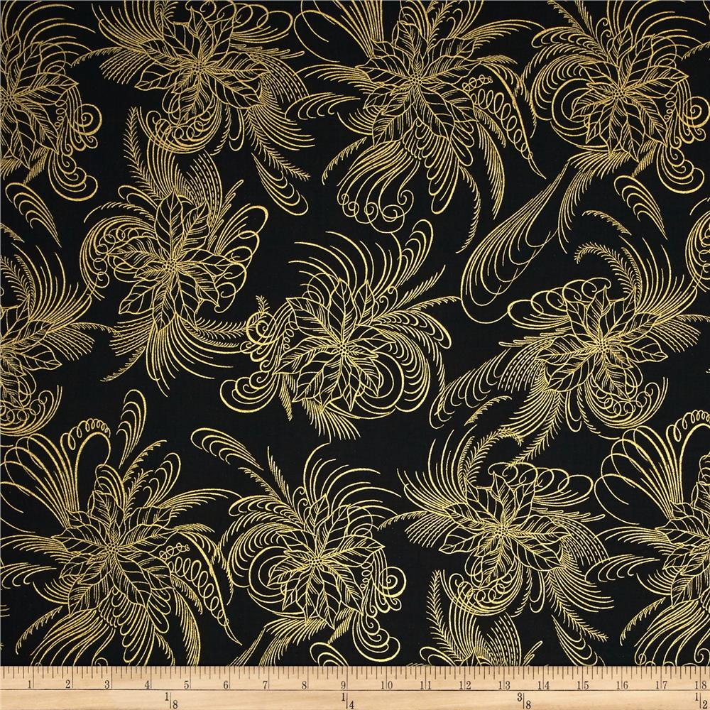 Berries and Blooms Metallic Poinsettia Outline Black/Gold