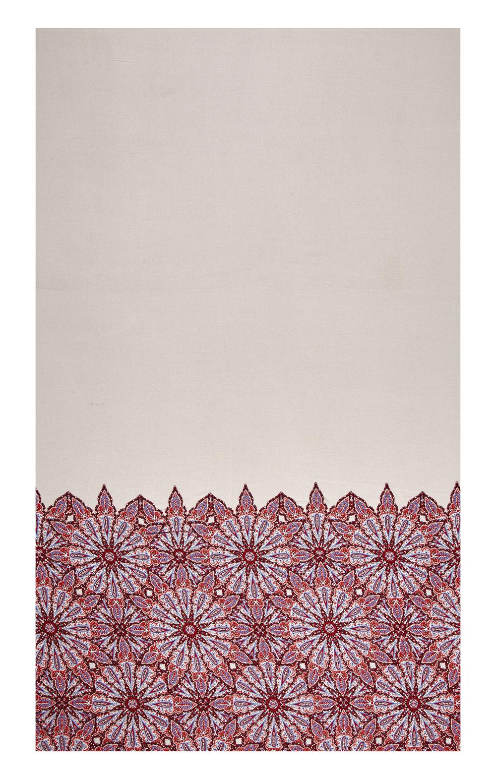 Rayon Crepe Floral  Border Taupe/Burgundy/Blue Fabric