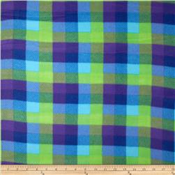 Printed Fleece Plaid Blue/Purple Fabric