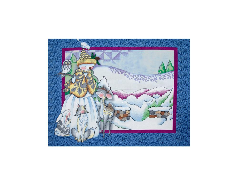 Jim Shore Woodland Snowman 35 In. Panel Blue Fabric By The Yard