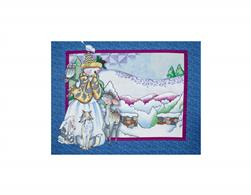 Jim Shore Woodland Snowman Panel Blue