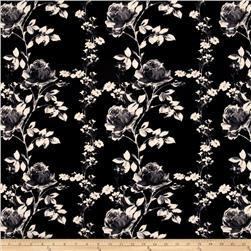 Jersey Knit Large Floral Black