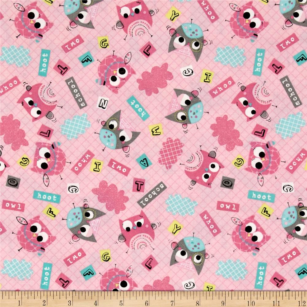 Owl School Tossed Owls Words Pink - Discount Designer ...