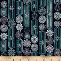 Winter's Grandeur Metallic Snowflake Stripe Winter