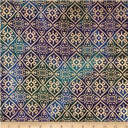 Indian Batik Tribal Diamond Metallic Blue/Purple