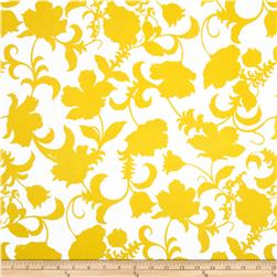 Black and White Gramercy Floral Yellow/White Fabric