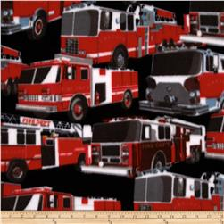 WinterFleece Fire Trucks Black Fabric