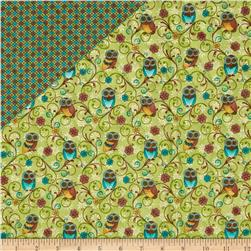 Who's Who Owls Double Sided Quilted Green