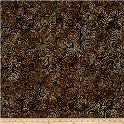 Batavian Batiks Spinning Circles Black/Brown
