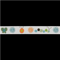 Riley Blake 5/8'' Grosgrain Ribbon Bugs White/Multi