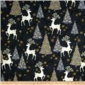 Celebrate the Season Metallic Reindeer & Tree Toss Black