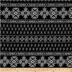 Liverpool Double Knit Print Geo Ethnic Black/Off White