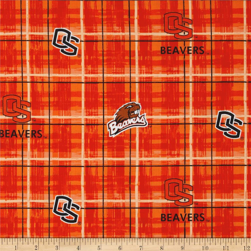Collegiate Cotton Broadcloth Oregon State University Plaid Orange
