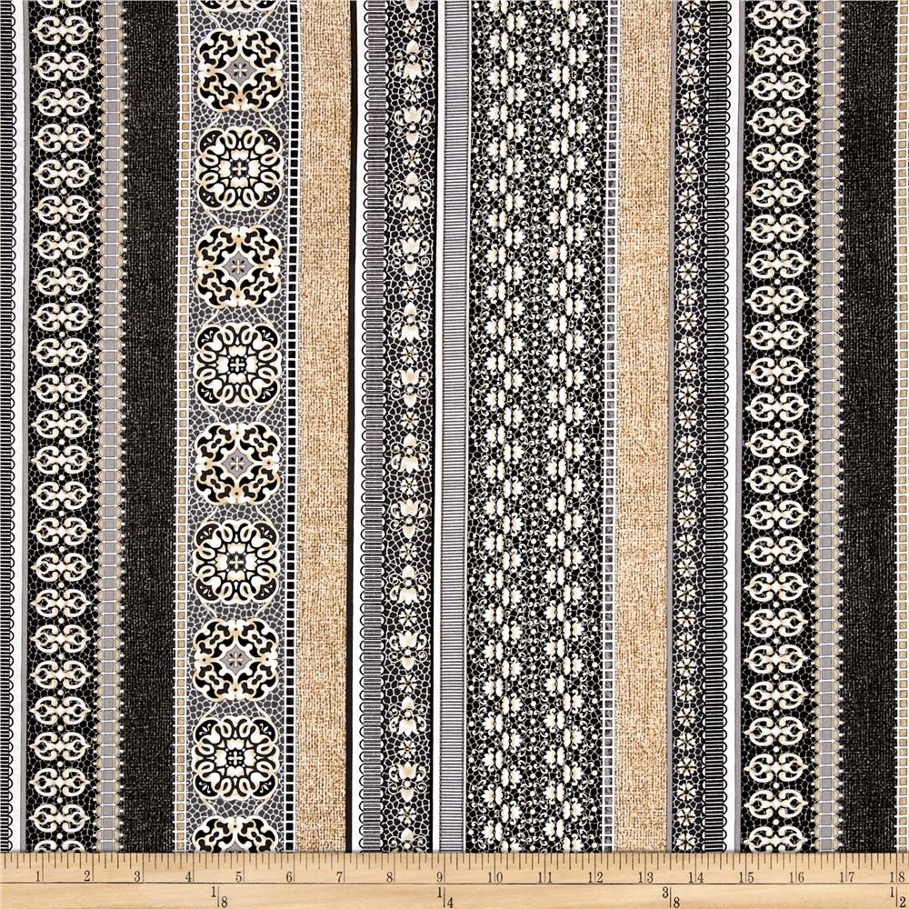 Burlap and Lace Burlap Ribbon Stripe Charcoal Fabric By The Yard