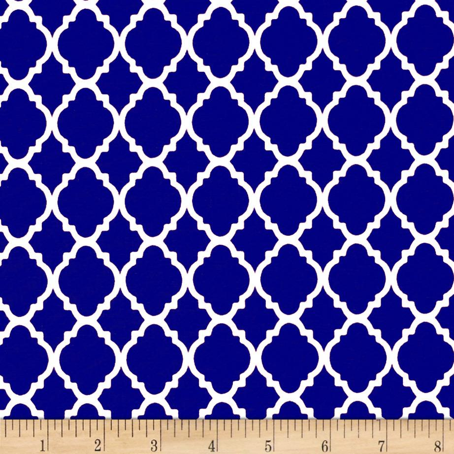 Quatrefoil royal white discount designer fabric for Fabric pattern