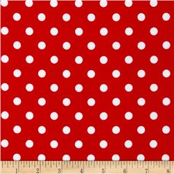 Stretch ITY Jersey Knit Polka Dot Red/White