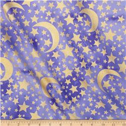 Michael Miller Moon & Stars Metallic Moon & Stars Grape