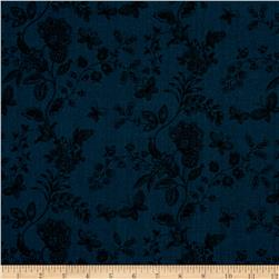 "108"" Wide Quilt Back Floral Butterfly Navy"