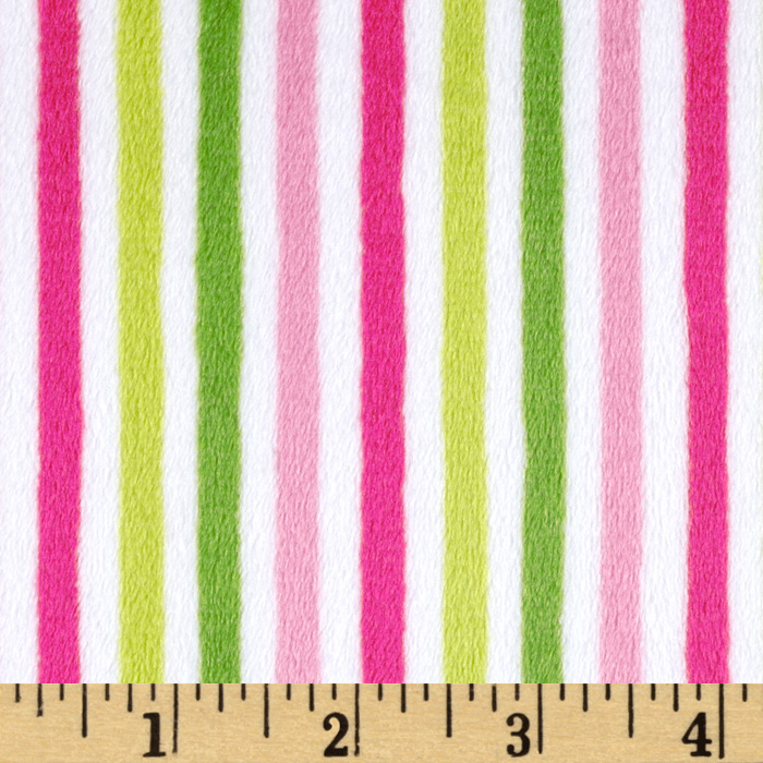 Minky Cuddle Classic Mini Stripe Hot Pink/Jade Fabric
