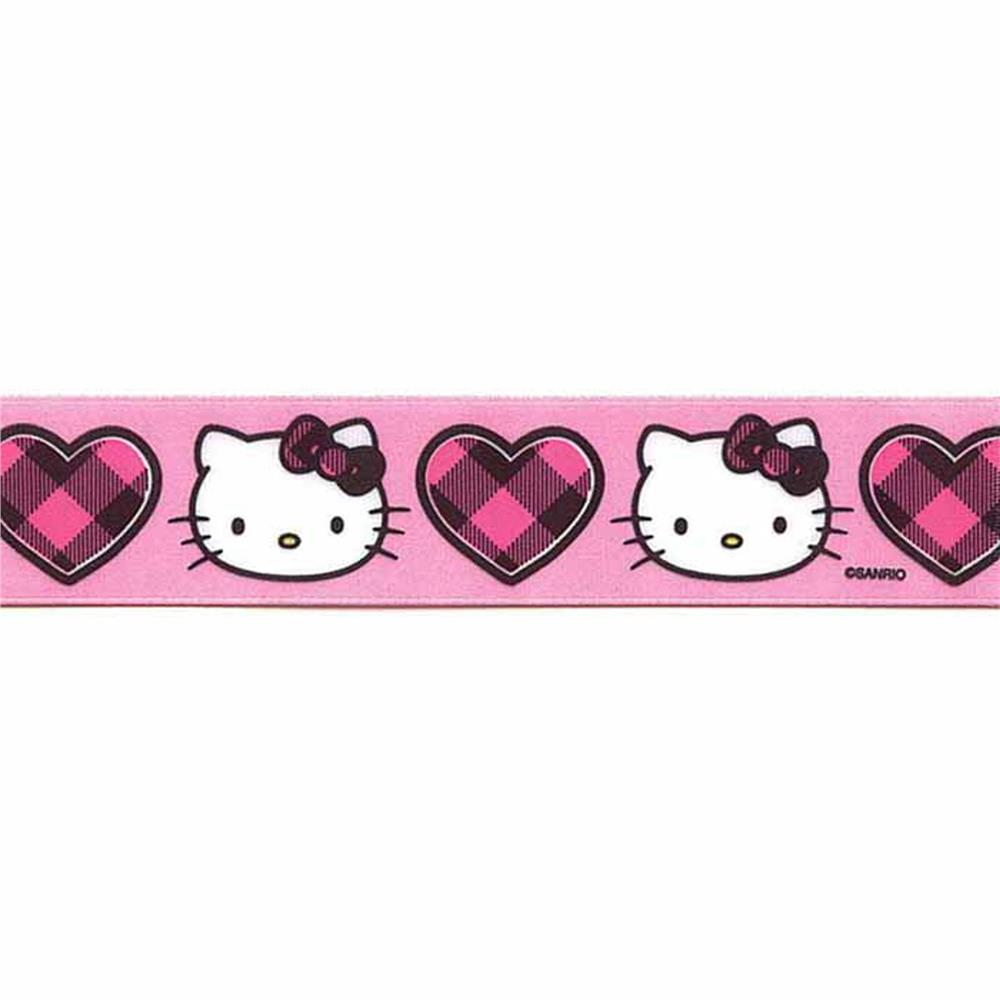 7/8'' Hello Kitty Buffalo Heart Ribbon Pink