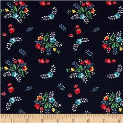 Riley Blake Stretch Cotton Jersey Knit Vintage Floral Navy
