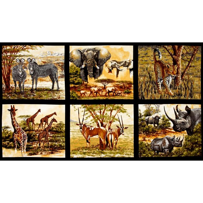 Kaufman Nature Studies Wild Animal Block Panel Wild