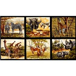 "Kaufman Nature Studies Wild Animal 24"" Block Panel Wild"