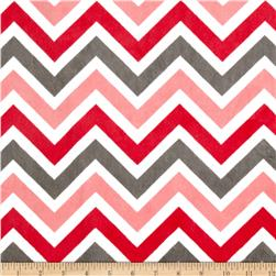 Minky Cuddle Zig Zag Watermelon/Charcoal Fabric
