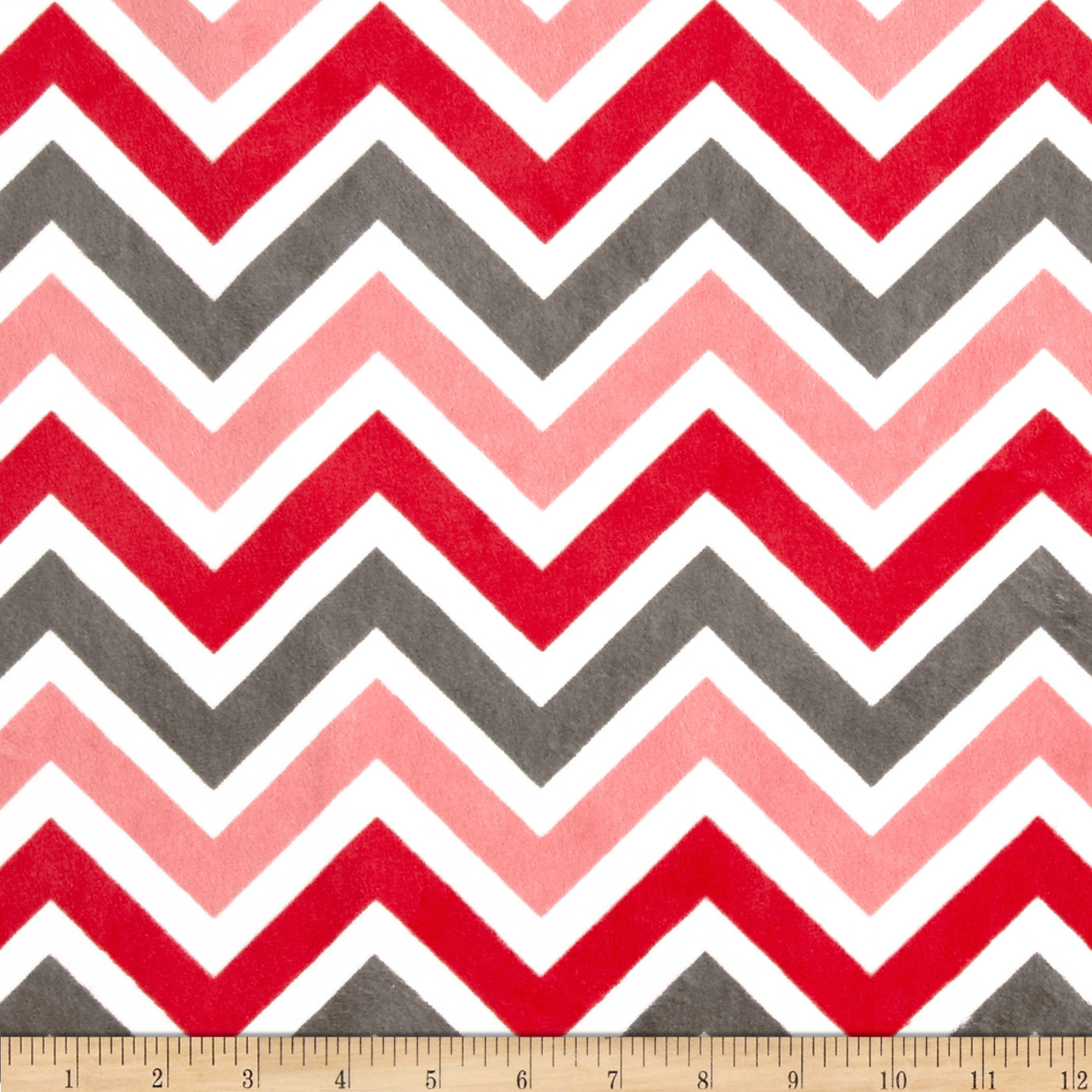 Minky Cuddle Zig Zag Watermelon/Charcoal