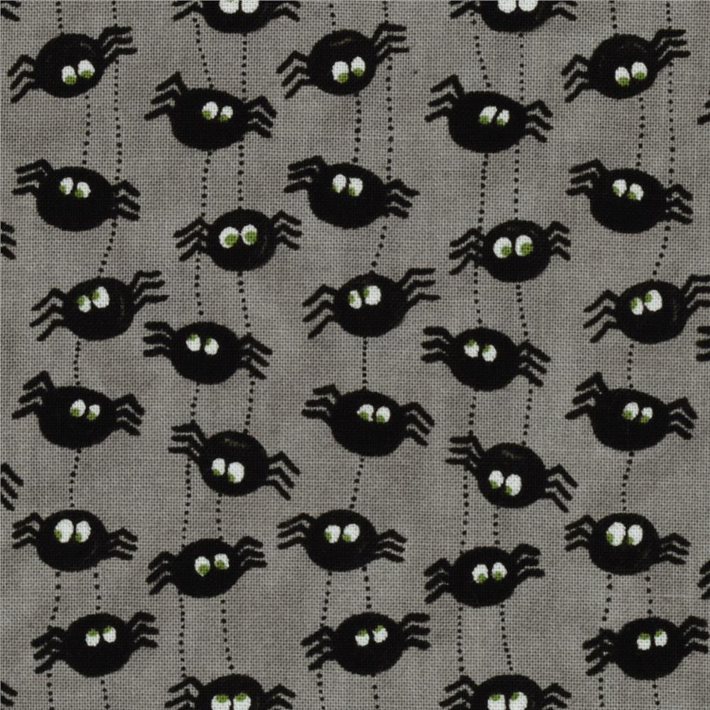 Moda Pumpkin Party Itsy Bitsy Spiders Spider Grey