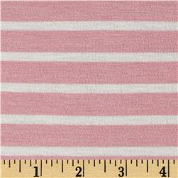 Stretch Rayon Jersey Knit Small Stripe Rosebud/Off White